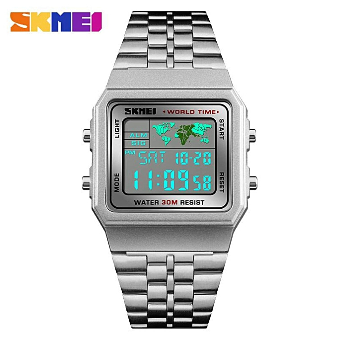 Digital Watches Fashion Style Business Style Men Square Digital Watches Waterproof Alarm Week Date 2 Time Display Sport Wristwatches El Light Man Wrist Watch 100% High Quality Materials