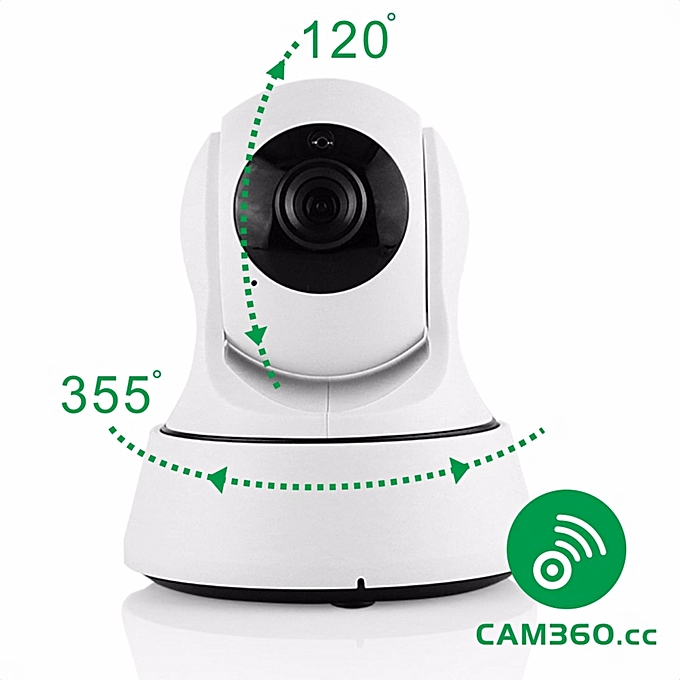 CAM360 720P Mega Pixel Pan and Tilt Onvif WiFi Baby Monitor IP Camera with  Audio in out and Remote Smartphone App Access (White) TXSHOP