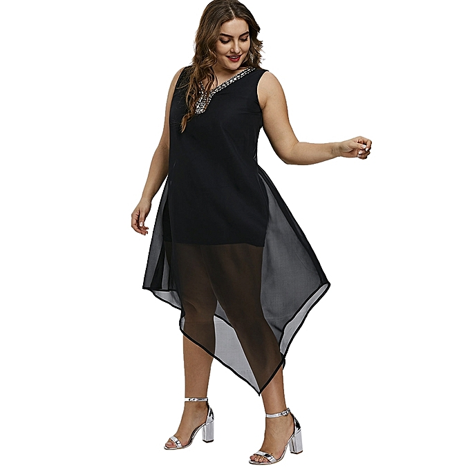Buy Fashion Plus Size Beading Embellished Asymmetrical Dress Black