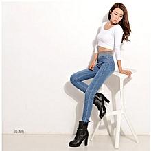 New Style Women's Fashion Loose Casual High Waist Jeans Elastic Waist Cowboy Feet Pants Pencil Pants Plus Size XS-5XL