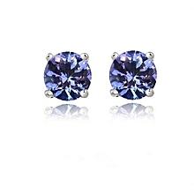 925 Silver 1 Karat Genuine Tanzanite Stud Earings 5mm,,,,,,,,