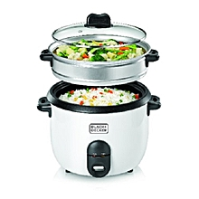 Automatic  Non Stick Rice Cooker with Glass Lid - 1.8 Ltr - White