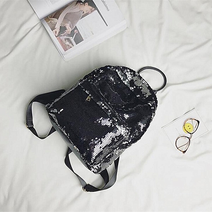 238957a1c3 Women Girls Sequins Glitter Bling Backpack School Travel Rucksack Shoulder  Bag  Black