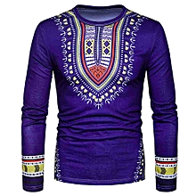 Hiamok  Men's Casual African Print O Neck Pullover Long Sleeved T-shirt Top Blouse