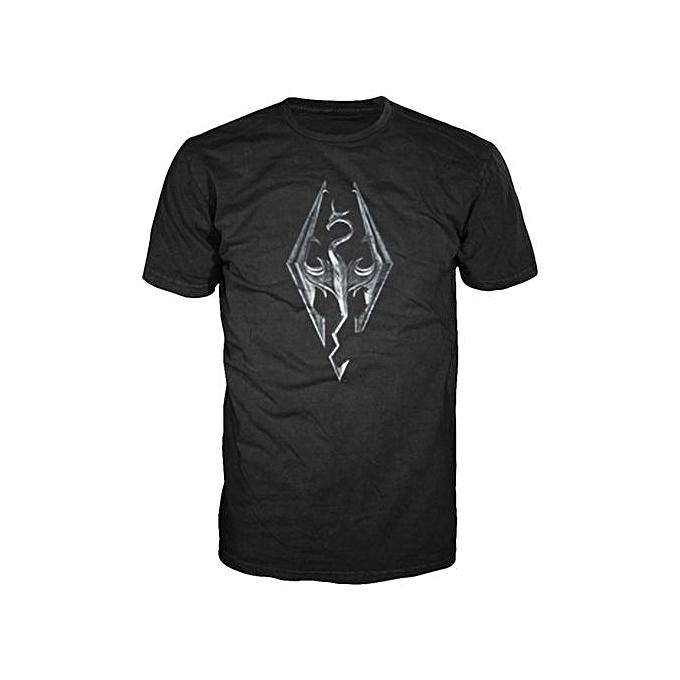 b670f730 Funny T Shirt Men'S Fashion T-Shirt Skyrim Dragon Logo T-Shirt Cheap Men
