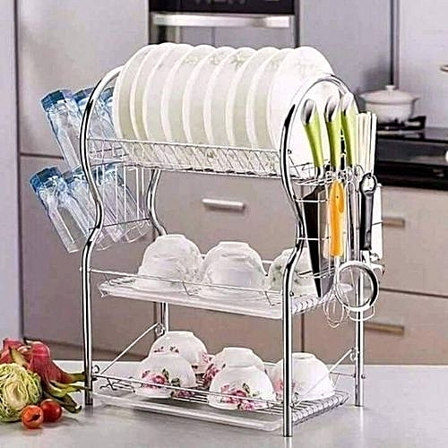 Buy Generic 3 Tier Dish Utensils Rack Stainless Steel With Drain
