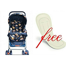 Baby Stroller/ Foldable Pram Portable Baby Stroller With Universal Casters- multicolour with a free Stroller Liner