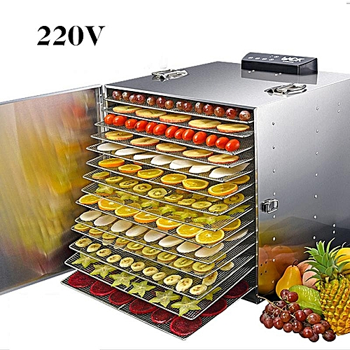 15 Trays Food Dehydrator Commercial Stainless Steel Fruit Meat Dryer Jerky  Maker 220V Silver