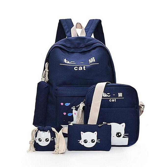 3e05d8d796 Fashion 5Pcs Women Backpack Girl School Bookbag Shoulder Bag Rucksack  Travel Bag 4 Set Kids Canvas