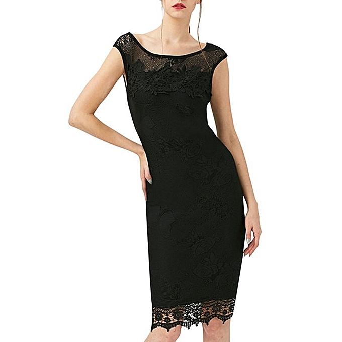 Kenancy Sequins Crochet Butterfly Lace Dress - Black   Best Price ... 7e1742aaaebf