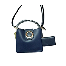 2 In 1 Ladies Leather Handbag - Blue