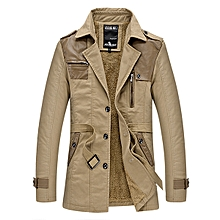 Men's Thick Warm Plush Spliced PU Leather Loose Trench Coat Casual Fashion Suit Collar Windbreaker