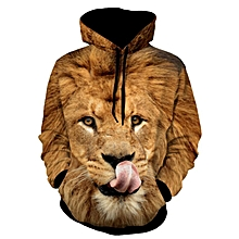 61fe770398b9 Lion Patterned 3D Animal Hoodie - Yellow