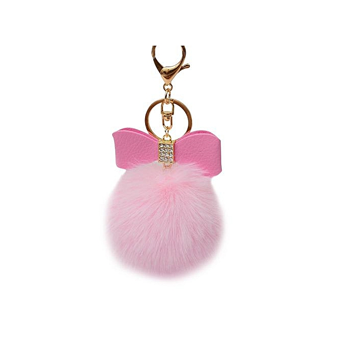 Braveayong Fluffy Faux Rabbit Fur Ball Bowknot Charm Car Keychain Handbag  Key Ring PK -Pink c9eda0404cdb