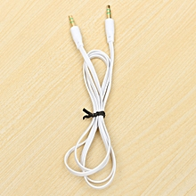 Auxiliary Stereo Mp3 Cable 3.5mm Audio AUX Input Extension Flat Music Car Cord White