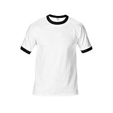 Men's DryBlend Preshrunk Contrast Neck T-Shirt (White/Black)
