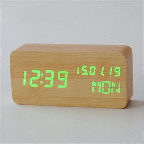 9fa0c9a3a875 Modern Cube Wooden Wood Digital LED Desk Voice Control Alarm Clock  Thermometer LED Color Green