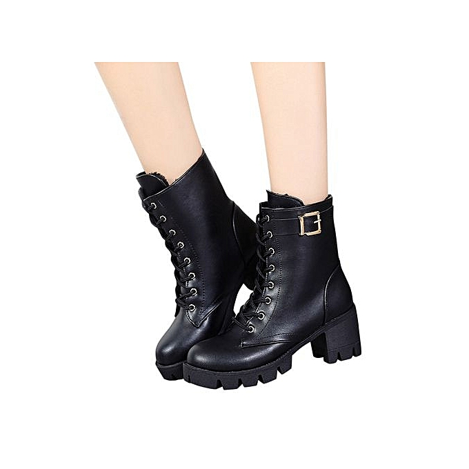 f7a0c5c9b03 Bliccol High Heel Shoes Women Ladies Square Heel Martin Boots Short Plush Ankle  Boots Heels Shoes ...