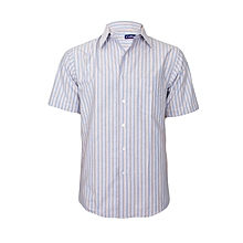 Blue With Multi-color Stripes Short Sleeved Shirt