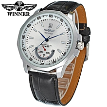 Winner Brand Men's Watch Hot Fashion Mechanical Automatic Watches Leather Watchbands Silver Stainless Steel Skeleton Watch Men F1205292 BDZ