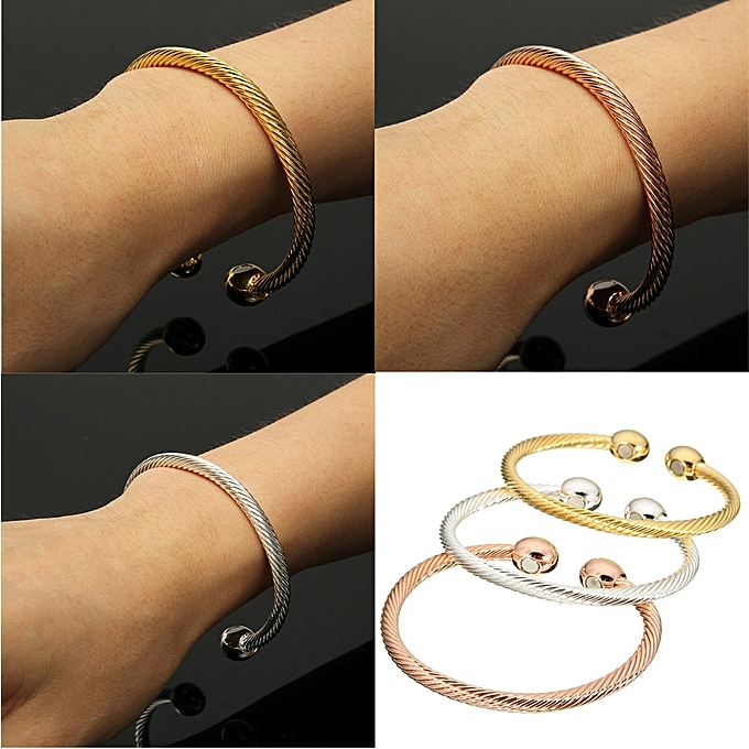 Healing Copper Magnetic Therapy Bracelet Bangle Arthritis Pain Relief Twisted Silver New