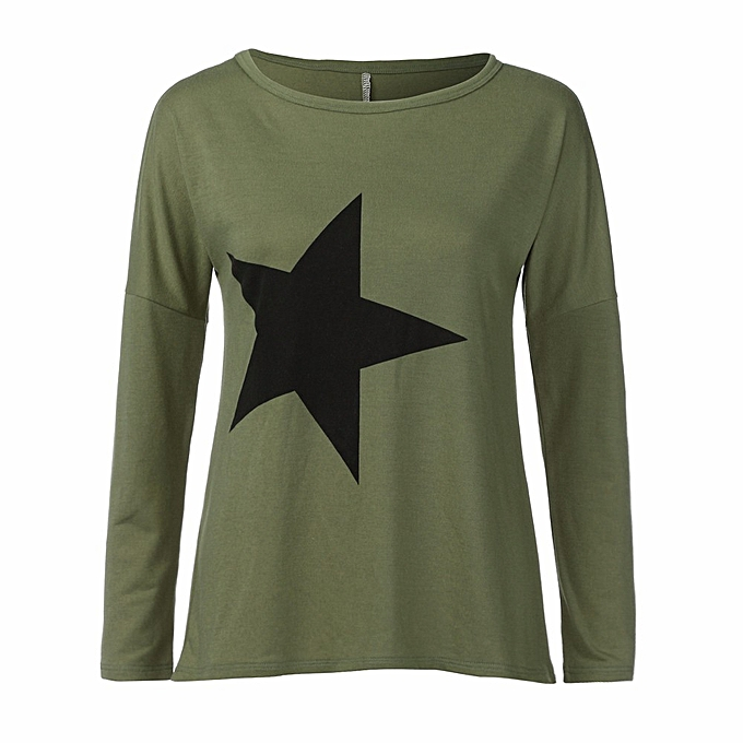 8cb6655d Hiaojbk Store Women Girl Pentagram Tees Short Sleeve Cotton T Shirt Blouse  Tops L-Army