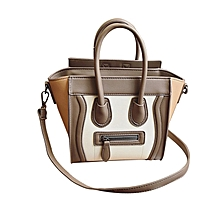 Trendy Fashion Women Classic PU Leather Handbag Hit Color Smile Shoulder Bag brown & white