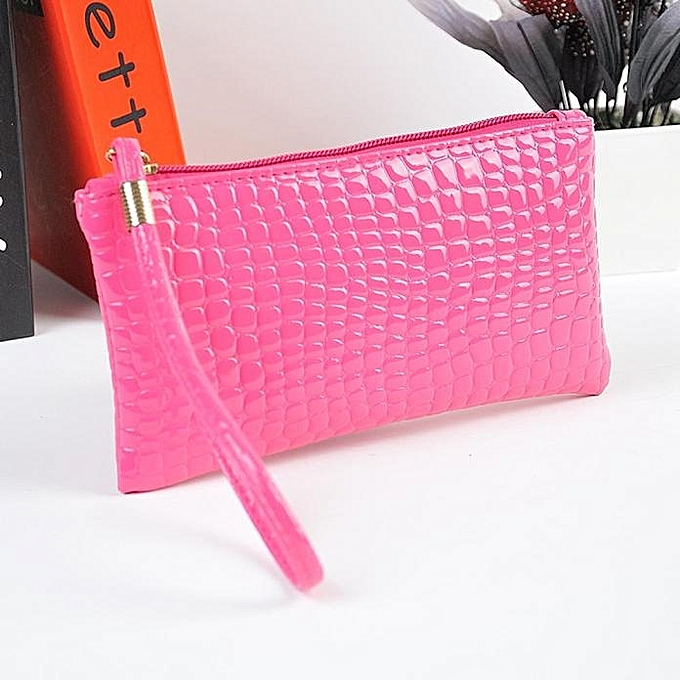 e377a5093e ... Hot Pink. Duoya Bluerdream Women Crocodile Leather Clutch Handbag Bag  Coin