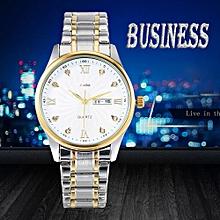 Watch Men's Business Calendar Watch Wedding Watch Stainless Steel Watch Band-Gold,Silver