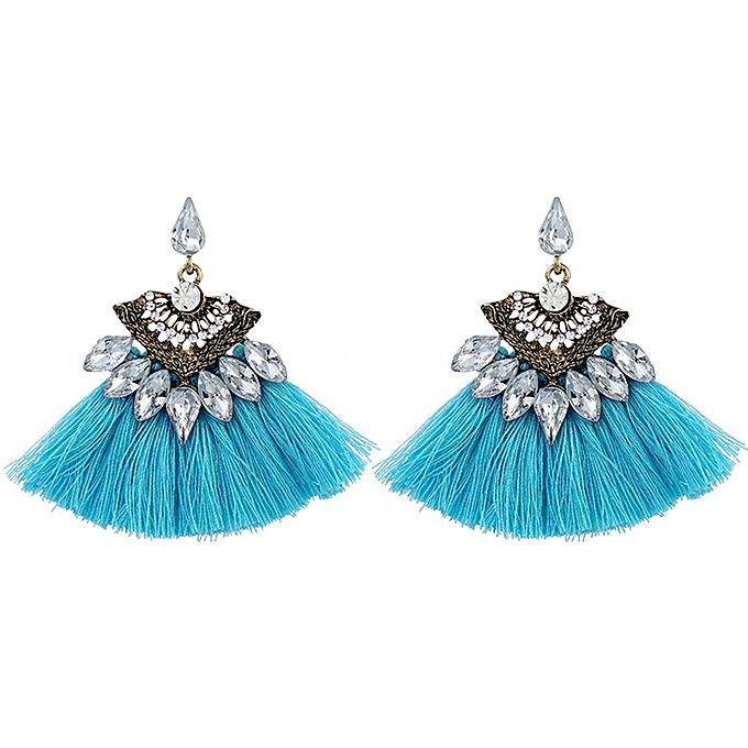Lovely Tel Alloy Rhinestones Ear Studs Drop Earrings Women Jewelry Blue