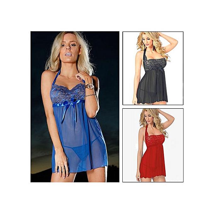 5a7938614 Plus Size 6XL Sexy Lingerie Women Lace Babydoll Dress Sleepwear Underwear +  G-String Sheer