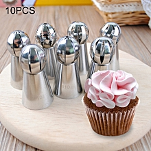 10 in 1 Baking Tool Torch Shaped Stainless Steel Pastry Decorating Piping Nozzles