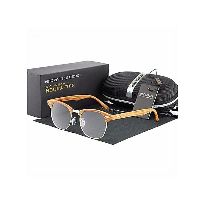 4401434648 Vintage Men Women Retro Eyeglasses Frame Full-Rim Glasses Box Eyewear Clear  Lens Wooden