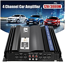 3800W Watt RMS 4 Channel 12V Car Audio Power Amplifier Amp Aluminum Alloy Black