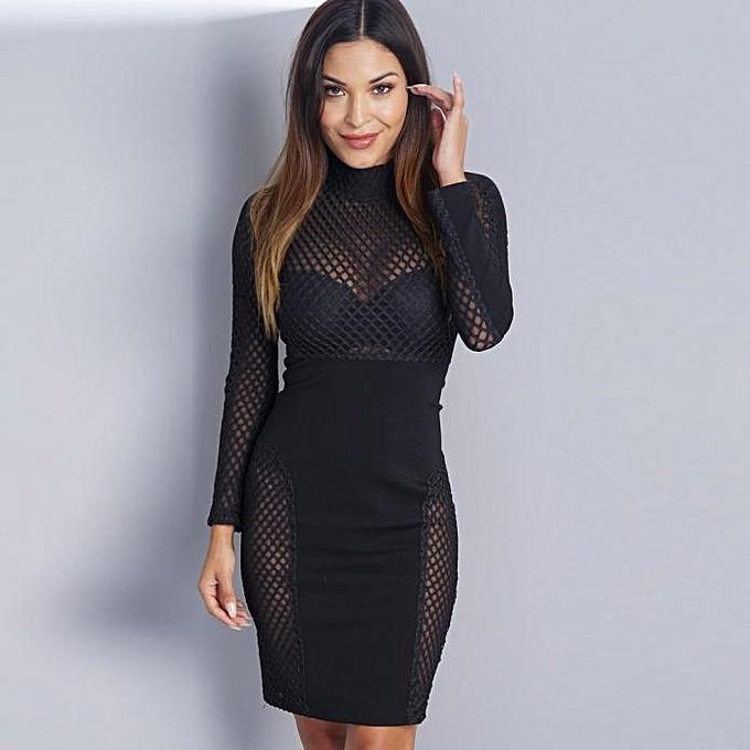 499332af4d Fashion jiuhap store Women Fashion Turtleneck Bodycon Long Sleeve Cocktail  Evening Party Long Dress M-Black
