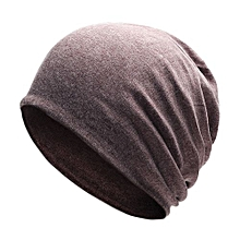 Unisex Stylish Knitted Cotton Cap Solid Color Warm Beanie Prevent Cold Wind Hat For Winter Autumn Color:Brown