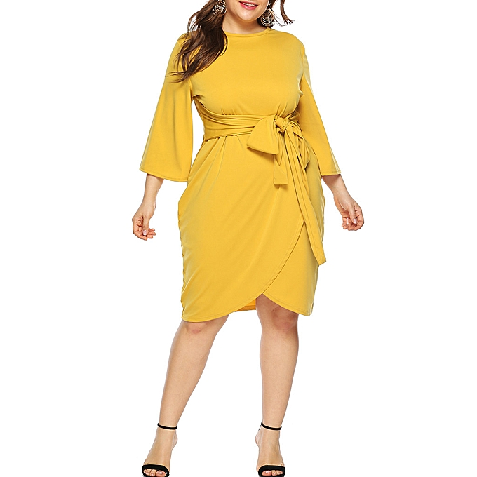 bbf7553167c Womens Plus Size Casual O Neck 3/4 Sleeve Knee Length Dress Party Dress