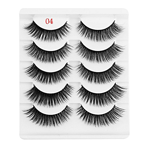 c2ea7ff9b95 Generic 5 Pairs 3D Faux Mink Hair False Eyelashes Wispies Long Cross Lashes  Handmade Eye Makeup Tools(4)