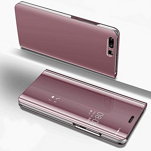 Luxury Clear View Mirror Smart Case For Huawei P10 Lite Leather Flip Stand  Case For P10 Lite Cover Bag 299756 (Rose Gold)