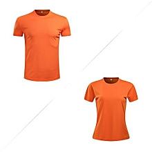 2018 New Fashion Men's Summer Breathable Casual Summer O-Neck Shirts-Orange