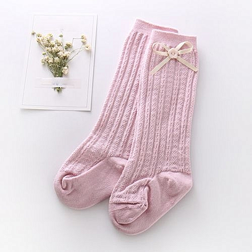 f99ef6e3d3c Fashion Baby Girl Socks Knee High Bows Princess Kids Child Bootie Vertical  Striped PK M