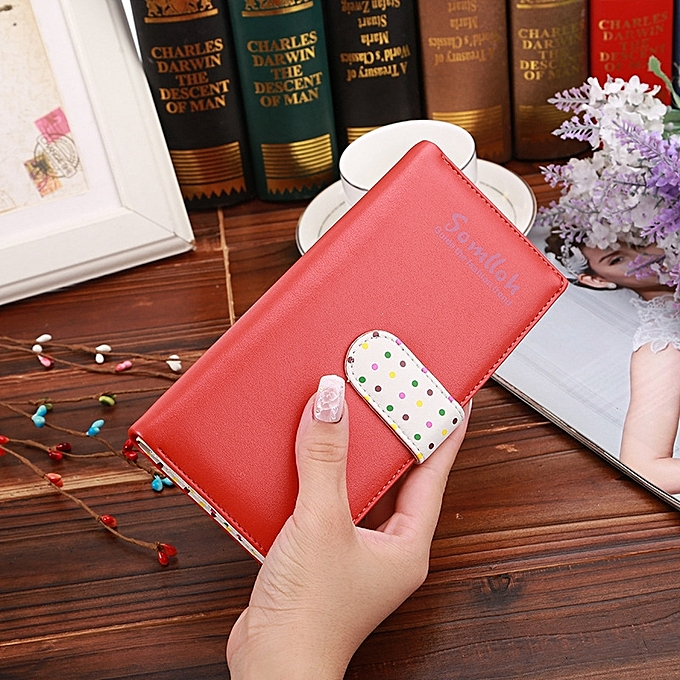 832ab86712f0 Fashion Dot Pattern 2-Folding Long Design PU Leather Zipper Wallet Coin  Purse for Women(Red)