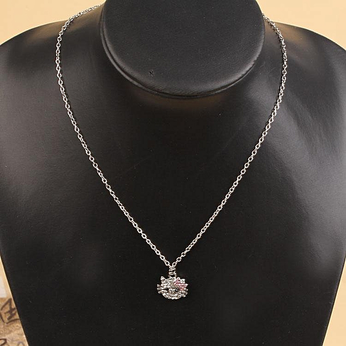 09d0a5dd1 Women Little Hello Kitty Artificial Diamond Pendant Necklace Sweater Chain  Lady