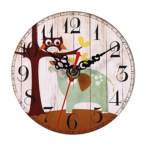 Creative Antique Wall Clock Vintage Style Wooden Round Clocks Home Office Decoration 1