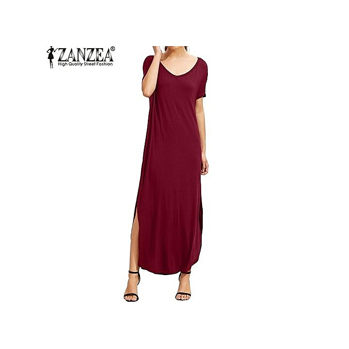 a32f28f4f013 ZANZEA Women V Neck Short Sleeve Side Split Backless Beach Loose Casual  Solid Vestido Female Party