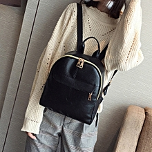 Women's Fashion Leather Solid School Bag Travel Backpack Bag A