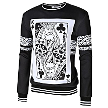 MrWonder Men's Casual 3D Poker Print Crewneck Long Sleeve Pullover Sweatshirt Color:Black Size:L