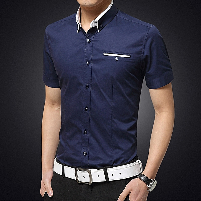 2653ceab40 Men's Formal Shirts Short Sleeve Slim Fit Business Casual Shirts (Blue)