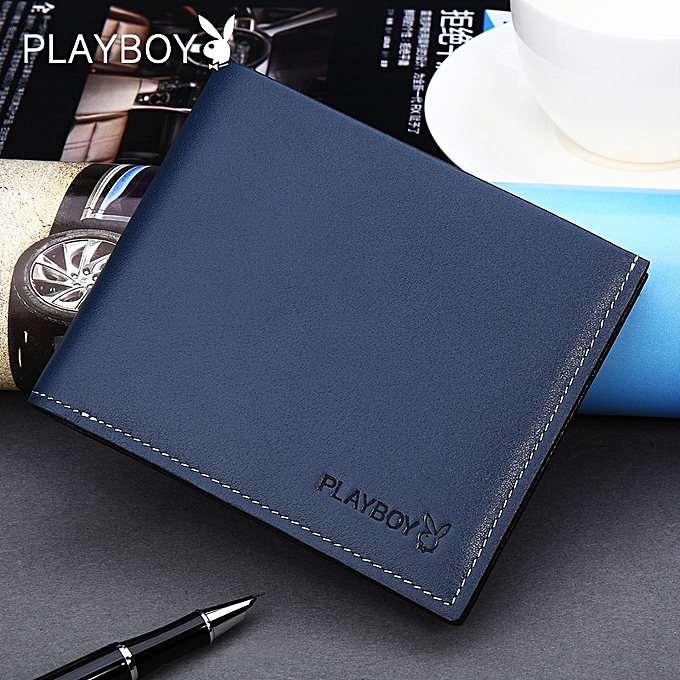【blue】Playboy wallet men's youth ultra-thin fashion leather ticket holder boys wallet