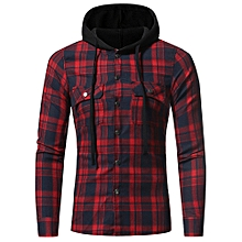 Men's Autumn Winter Long Sleeved Plaid Hooded Shirt Top Blouse ?- Red